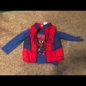 Spider man long sleeve shirt and vest 2t